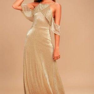 Lulu*s - GOLD OFF-THE-SHOULDER MAXI DRESS